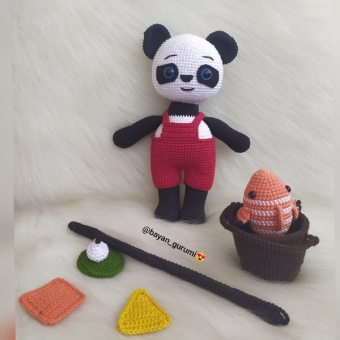 Amigurumi eğitici panda seti