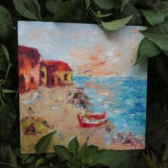 Yağlı Boya Tablo (Deniz Kenarında Evler ve Kayık)