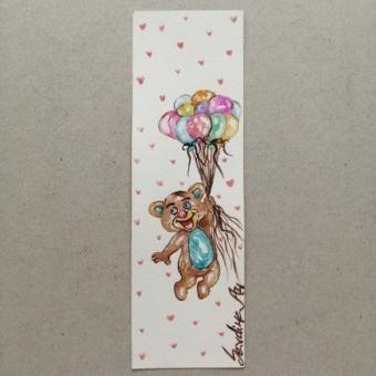 Suluboya Kitap Ayracı (Balonlar ve Ayıcık)