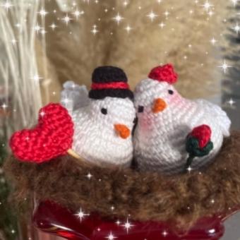 Amigurumi Aşık Beyaz Güvercinler