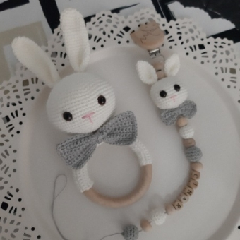 amigurumi tavşan çıngırak emzik zinciri seti