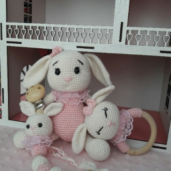 Amigurumi Yeni doğan tavşan seti