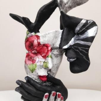 Kuşlu Siyah ve Gümüş Mask