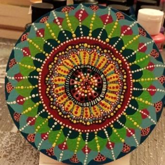 Mandala Akrilik El Yapımı Bardak Altlığı