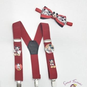 Mickey Mouse Pantolon Askı Ve Papyon Takım