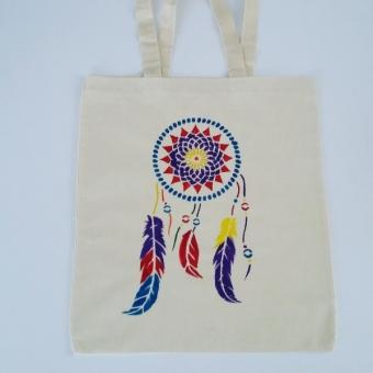 Düş kapanı el boyama bez çanta