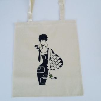 Kadın silüetli el boyama omuz çantası