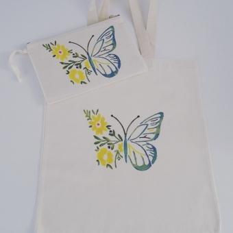 El boyama kelebekli çanta takımı