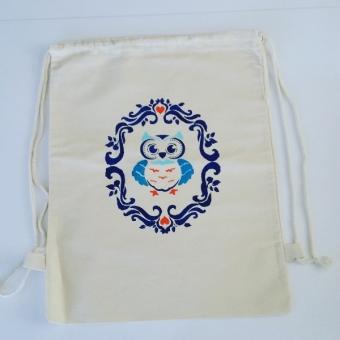 El boyama baykuş desenli sırt çantası