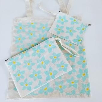 Mavi çiçekli bez çanta takımı