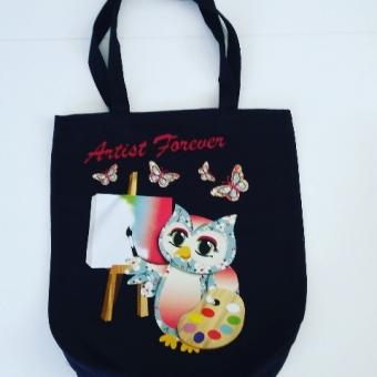 Ressam baykuş bez çanta