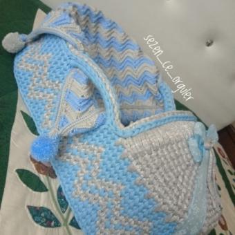 Penye İp Mavi Bebek Puseti
