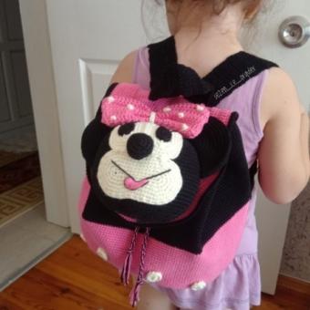 Amigurumi Minnie Mouse Sırt Çantası