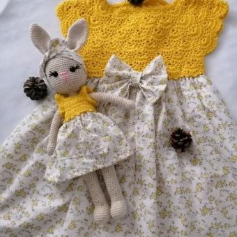 Örgü Robalı Elbise ve Amigurumi Tavşan