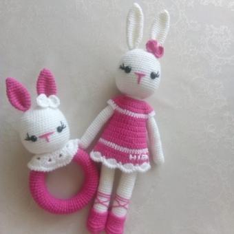 Amigurumi Tavşan ve çıngırak set