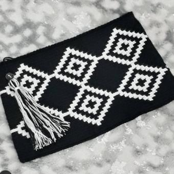 wayuu  siyah clutch çanta