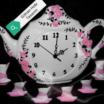 Çaydanlık saat  taş tozu