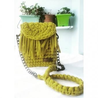 Yağ yeşili mini çanta