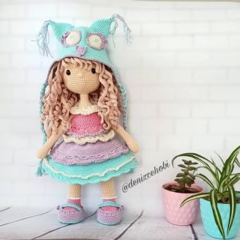 Amigurumi bebek  (baykuş şapkalı)