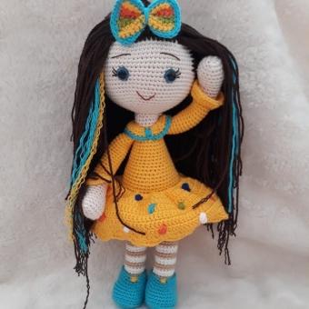 Amigurumi Sarı elbiseli bebek