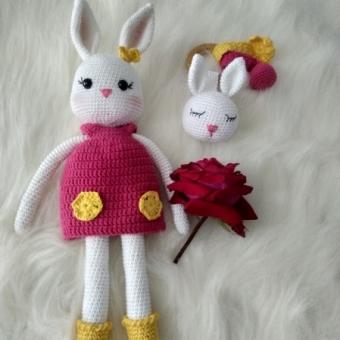Amigurumi yenidoğan tavşan seti