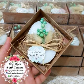 Yeşil Kurutulmuş Çiçekli Kutulu Sabun