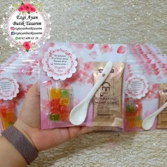Çiçek Desenli Kahve  Lokum Ve Kaşık Paketi
