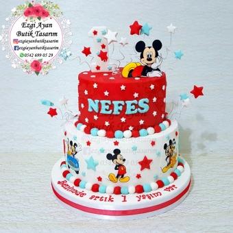 Mickey Mouse Temalı Maket Doğum Günü Pastası