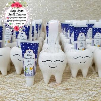 Kokulutaş Diş Saksıda Lacivert Yıldızlı Diş Macunu Ve Diş Fırçası