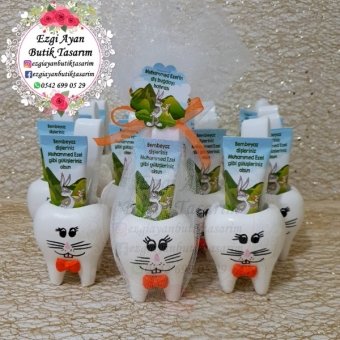 Kokulu Taş Tavşan Diş Saksısında  Bugs Bunny Temalı Diş Macunu Diş Fırçası