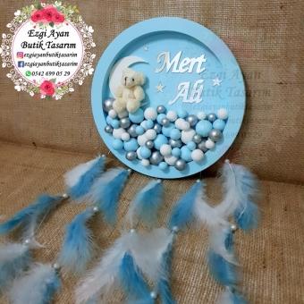Mavi Ayılı Baloncuklu Pano