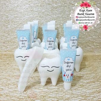 Kokulu Taş Diş Saksı İçinde Diş Macunu ve Fırça