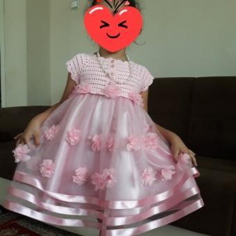robalı prenses cocuk elbisesi