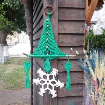Makrome Çam Ağacı Duvar Süsü