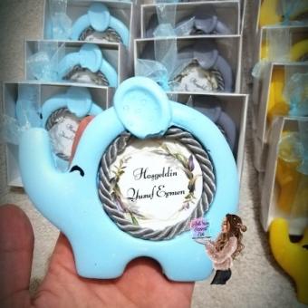 Fil Çerçeve Bebek Mavi Kutulu