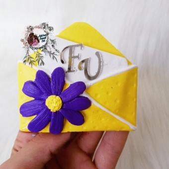 Çiçekli Zarf Magnet Sarı Mor