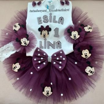 Mor Minnie Mouse Tütü Takım