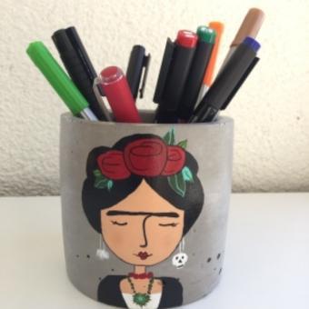 Beton Kalemlik ve Bardak Altlığı - Frida