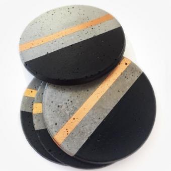 Beton Bardak Altlığı Siyah Şeritli