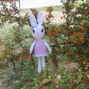 Mor elbiseli tavşan