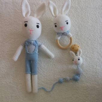 Mavili  yenidoğan tavşan set